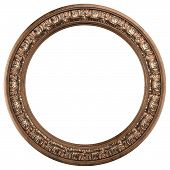 round ornamented old gold picture frame isolated on white poster