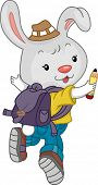Illustration of a Jumping Rabbit Student wearing a Backpack poster