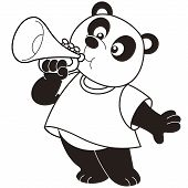 Cartoon Panda playing a trumpet.black and white poster
