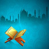 Islamic religious holy book Quran Shareef on beautiful floral decorated background with view of mosque. poster