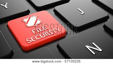 File Security on Red Keyboard Button.