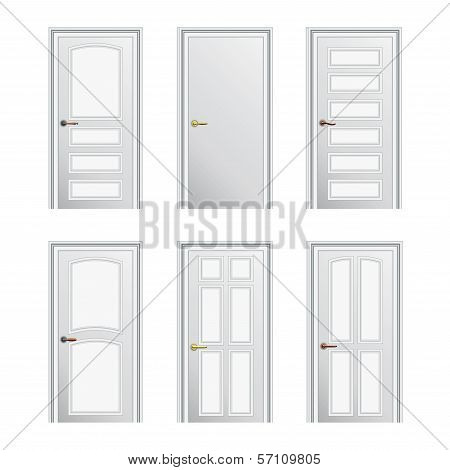 Set Of 6 White Painted Profiled Doors. Eps10