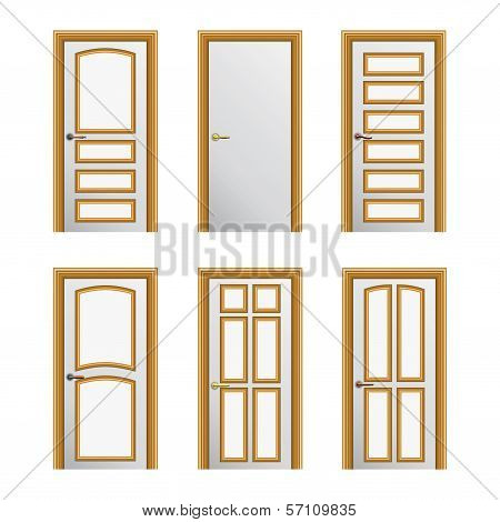 Set Of 6 White Painted Doors With Golden Profiles. Eps10