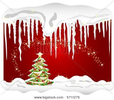 illustration of a cold winter background with christmas tree and icicle poster