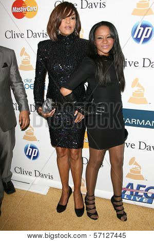 Whitney Houston and daughter Bobbi Kristina  at the Clive Davis Pre-Grammy Awards Party, Beverly Hilton Hotel, Beverly Hills, CA. 02-12-11