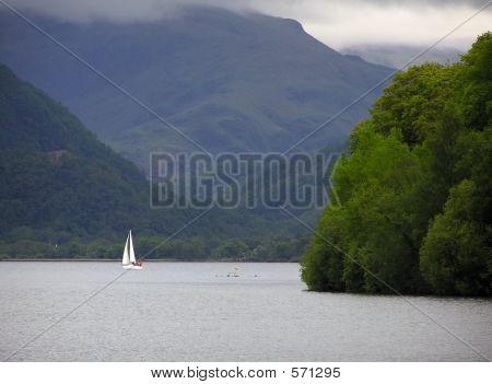 Sailing Boat On Derwent Water