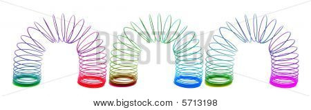 Slinky Toys on  an Isolated White Background poster