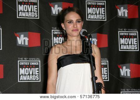 Natalie Portman at the 16th Annual Critics' Choice Movie Awards Press Room, Hollywood Palladium, Hollywood, CA. 01-14-11
