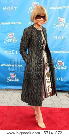 Editor-in-chief of American Vogue Anna Wintour at the red carpet before US Open 2013 opening night