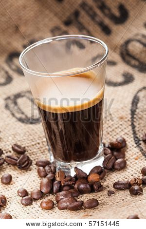 Hot coffee in glass