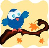 Blue bird on a branch with orange maple leaves. Vector illustration. poster