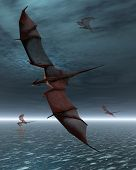 A flight of four red dragons over a calm moonlit sea, 3d digitally rendered illustration poster