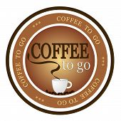 An illustrated badge offering fresh brewed coffee to go. All on white background. poster