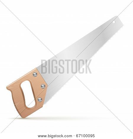 Wooden Classic Handsaw Isolated On White Background. Vector Illustration