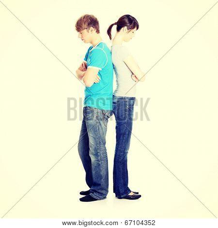 Pensive couple having an argument.