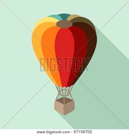 Hot air balloon in flat design style.