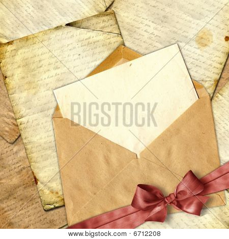 Love Letter With Flower On Paper Background.