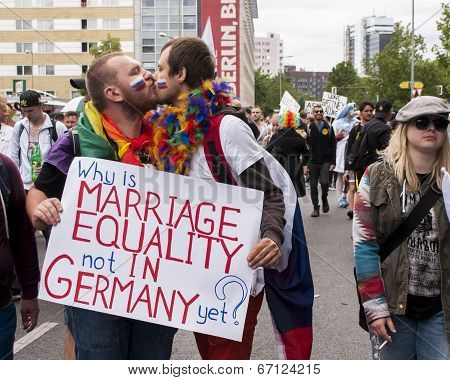 Unidentified Gays Kissing During Gay Pride Parade