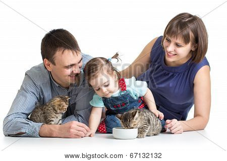 poster of kid girl and her parents feeding small kittens
