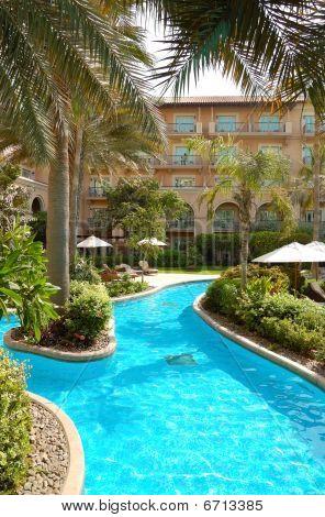 Swimming Pool Area At Luxury Hotel, Dubai, Uae