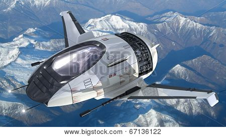 Drone design of alien spacecraft for futuristic military war games, flying at high altitude over a generic snowcapped mountains landscape. poster