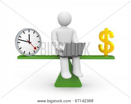 White cartoon character between time and money.