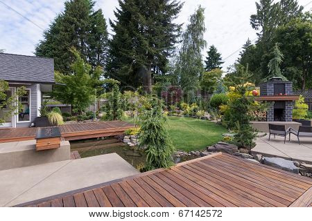 Backyard Deck And Water