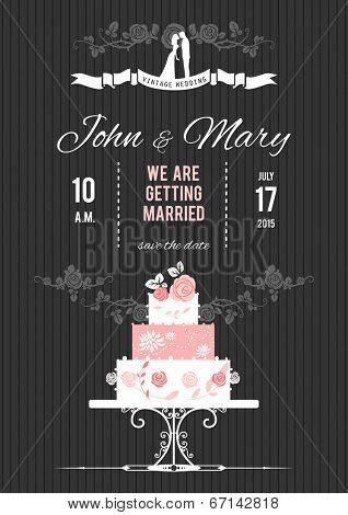 Wedding invitation on dark background with wedding cake