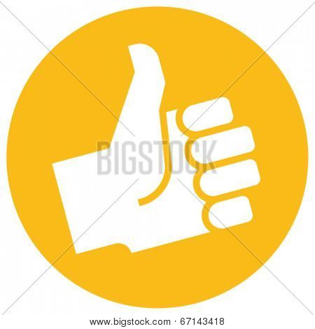 Thumb up icon over orange label