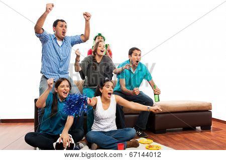 Group of friends celebrating football / soccer match