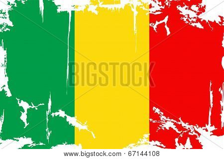Malian grunge flag. Vector illustration