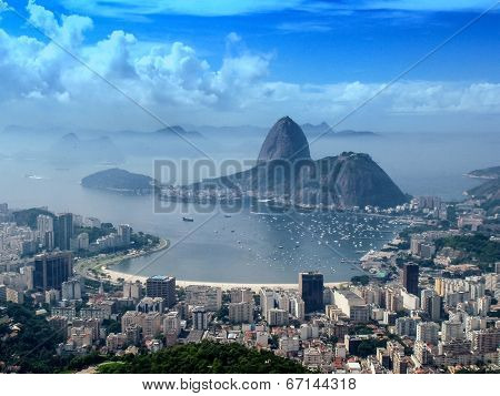 A panoramic view of cityscape from the Mirante Dona Marta peak in Rio de Janeiro Brazil. poster