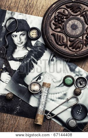 sewing accessories and retro photo stylish women
