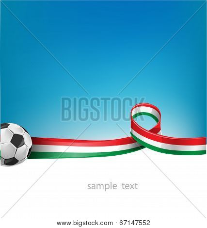 Italian And Mexican Flag Set With Soccer Ball