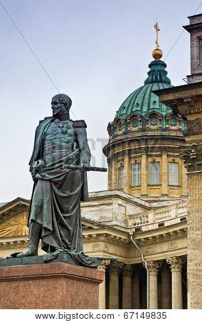 Monument Of Barklay De Toli. Kazanskiy Cathedral In St. Petersburg