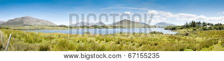 A panoramic image of the Lough Corrib in Ireland
