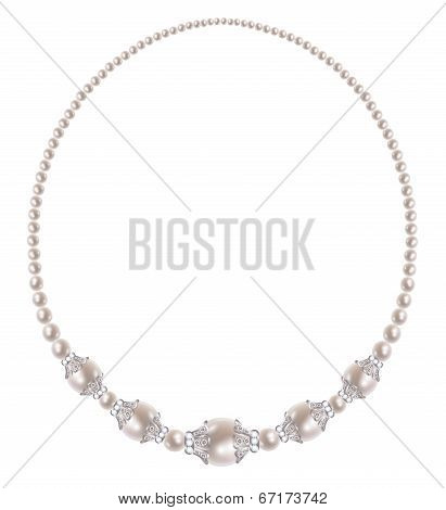Pearl necklace with five large oval pearls set in silver poster