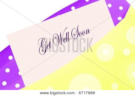 Sending well wishes with a get well soon card note or letter in yellow and purple polkadot envelope poster