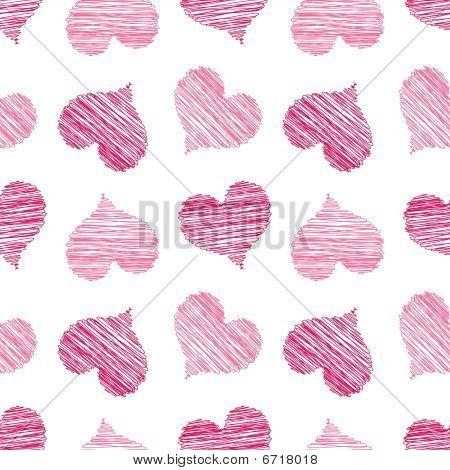 Pink Scribbled Heart Pattern