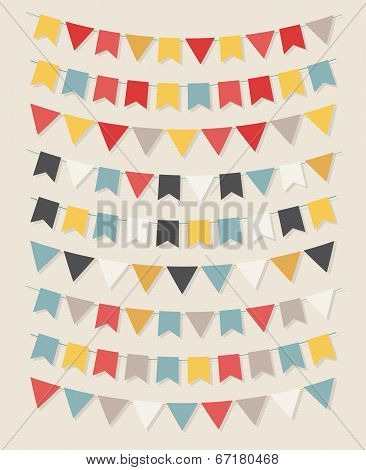 Vector bunting party flags