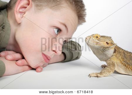 boy with reptile