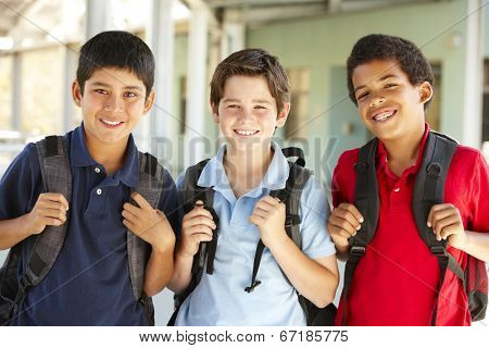 Pre teen boys at school