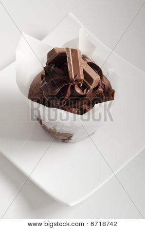 Chocolate Muffin On White Plate