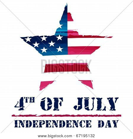 Star In Usa Drawing Flag And 4Th Of July - American Independence Day