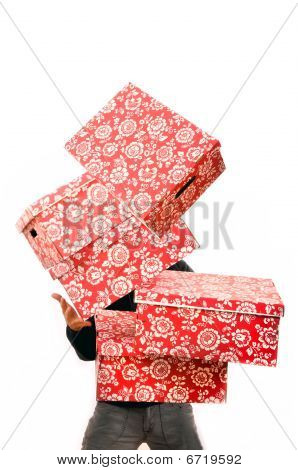 Red Cardboard Boxes Falling