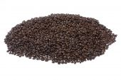 Bunch of roasted coffee beans on isolated background poster