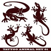 vector set: templates animals for tattoo and design on different topics poster