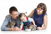 kid girl and her parents feeding small kittens poster