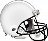 Vector illustration of white football helmet on white background poster