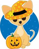 A Chihuahua all dressed up for Halloween poster